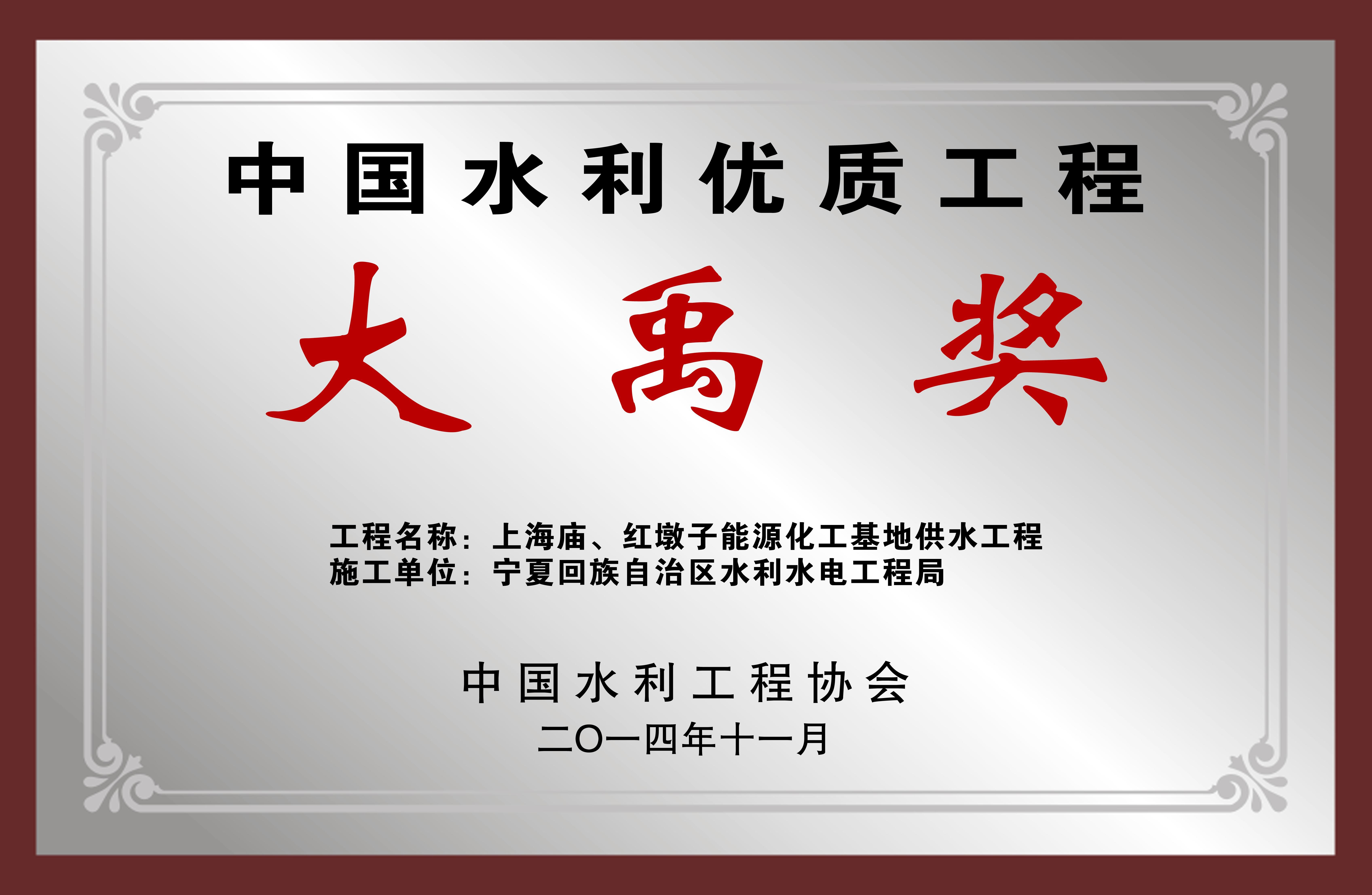 【奖项荣誉】大禹奖